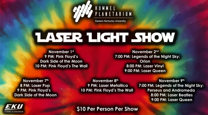 Laser Show Ad with all show times and shows