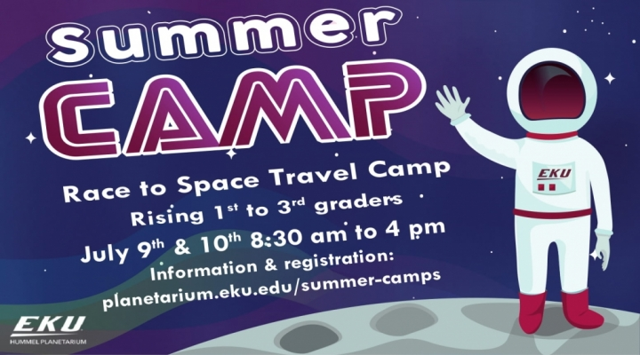 Summer Camp ad for Race to Space Travel Camp for upcoming 1st to 3rd grader